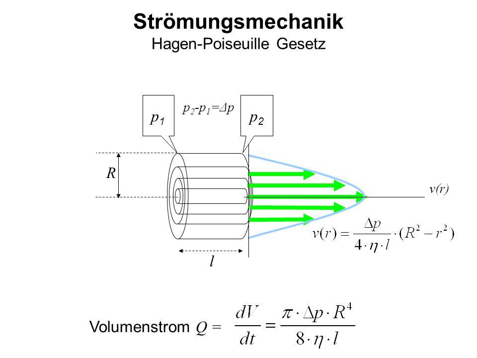 Strömungsmechanik Hagen-Poiseuille Gesetz p1p1 p2p2 R l v(r) Volumenstrom Q = p 2 -p 1 =Δp