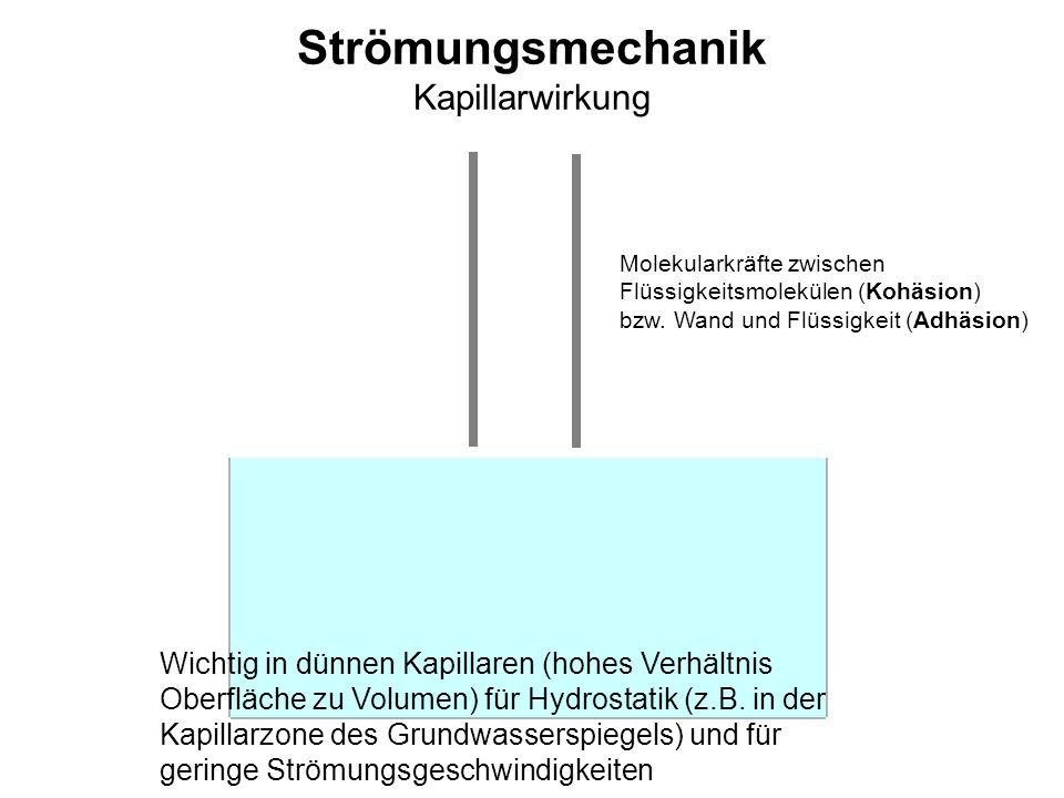 Strömungsmechanik Kapillarwirkung Wichtig in dünnen Kapillaren (hohes Verhältnis Oberfläche zu Volumen) für Hydrostatik (z.B. in der Kapillarzone des