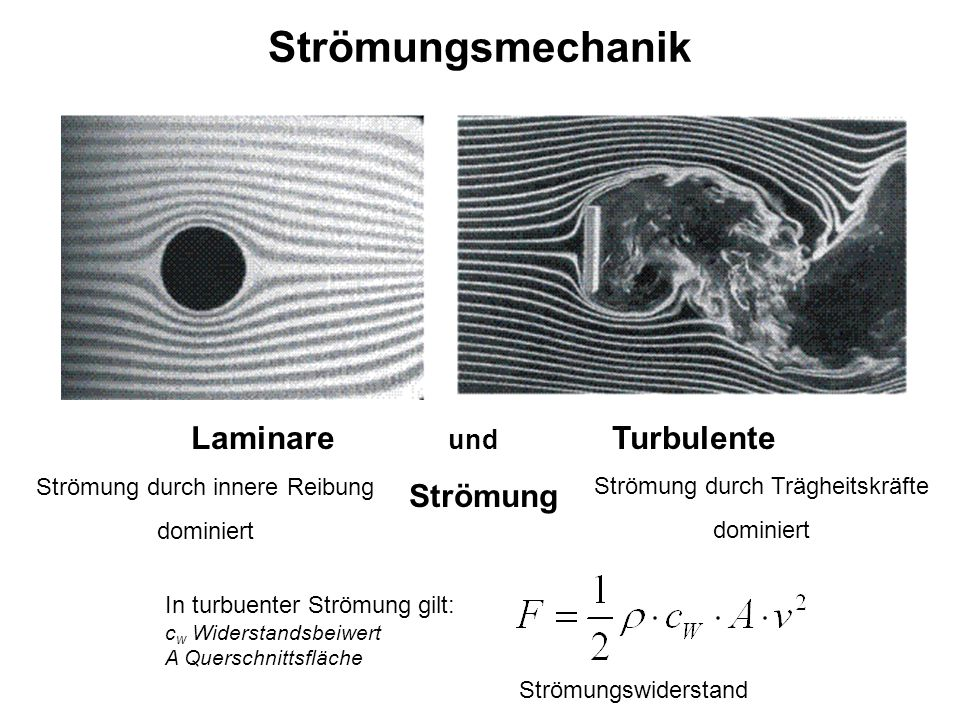 Strömungsmechanik Laminare und Turbulente Strömung Strömung durch innere Reibung dominiert Strömung durch Trägheitskräfte dominiert In turbuenter Strö