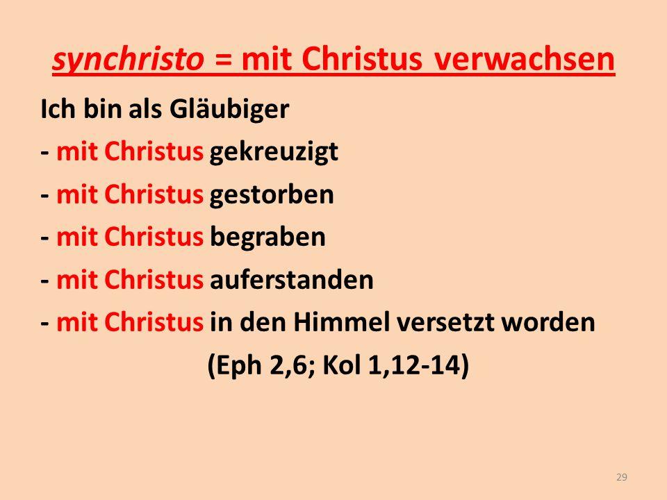 synchristo = mit Christus verwachsen Ich bin als Gläubiger - mit Christus gekreuzigt - mit Christus gestorben - mit Christus begraben - mit Christus a