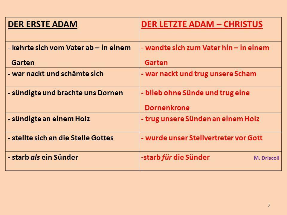 DER ERSTE ADAMDER LETZTE ADAM – CHRISTUS - kehrte sich vom Vater ab – in einem Garten - wandte sich zum Vater hin – in einem Garten - war nackt und sc