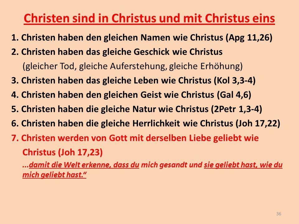 Christen sind in Christus und mit Christus eins 1. Christen haben den gleichen Namen wie Christus (Apg 11,26) 2. Christen haben das gleiche Geschick w