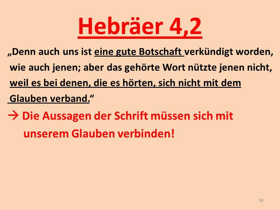 """Hebräer 4,2 """"Denn auch uns ist eine gute Botschaft verkündigt worden, wie auch jenen; aber das gehörte Wort nützte jenen nicht, weil es bei denen, die"""