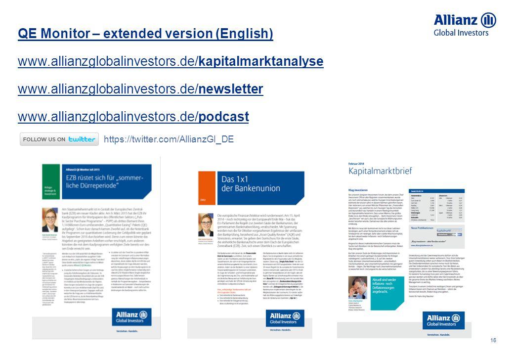 16 QE Monitor – extended version (English) www.allianzglobalinvestors.de/kapitalmarktanalyse www.allianzglobalinvestors.de/newsletter www.allianzgloba