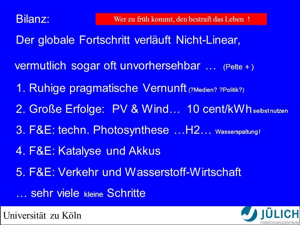 Universität zu Köln Bilanz: Der globale Fortschritt verläuft Nicht-Linear, vermutlich sogar oft unvorhersehbar … (Pelte + ) 1. Ruhige pragmatische Ver