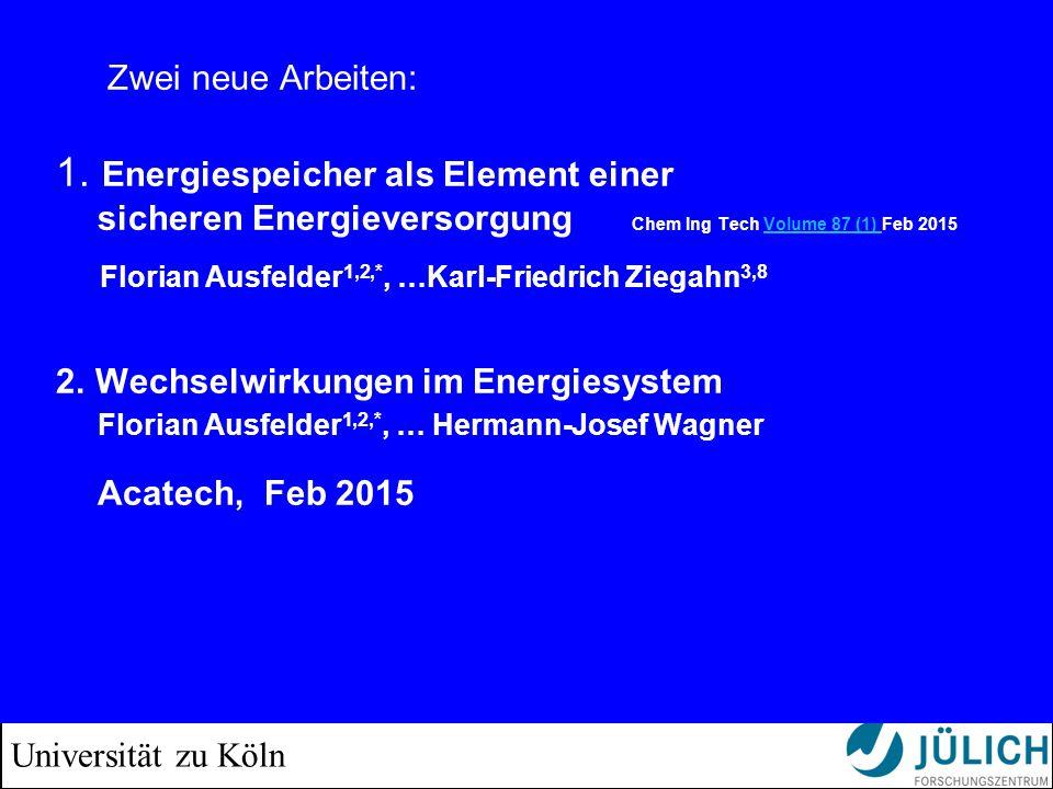 Universität zu Köln Zwei neue Arbeiten: 1. Energiespeicher als Element einer sicheren Energieversorgung Chem Ing Tech Volume 87 (1) Feb 2015 Florian A