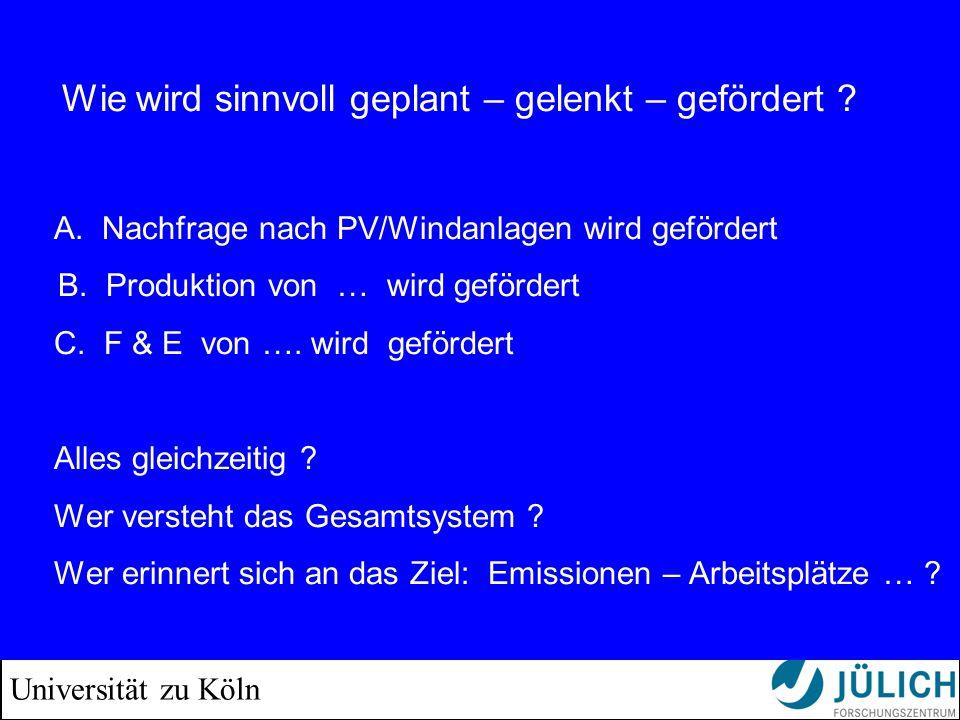 Universität zu Köln Wie wird sinnvoll geplant – gelenkt – gefördert ? A. Nachfrage nach PV/Windanlagen wird gefördert B. Produktion von … wird geförde