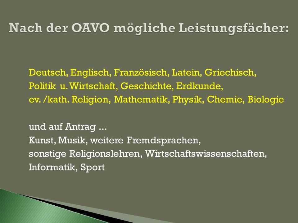 Deutsch, Englisch, Französisch, Latein, Griechisch, Politik u.