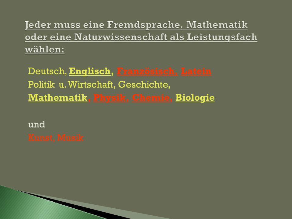 Deutsch, Englisch, Französisch, Latein Politik u. Wirtschaft, Geschichte, Mathematik, Physik, Chemie, Biologie und Kunst, Musik