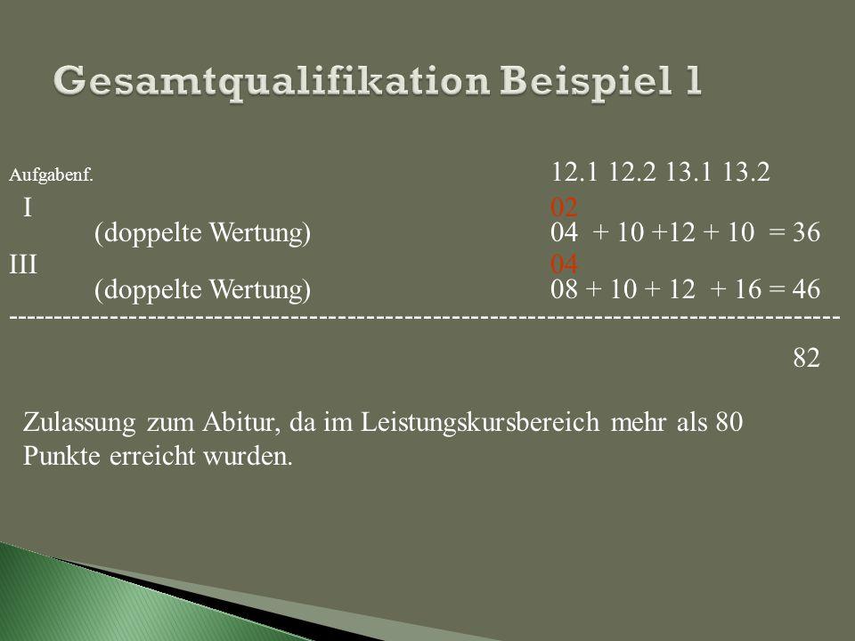 Aufgabenf. 12.1 12.2 13.1 13.2 ILK Englisch 02 05 06 05 (doppelte Wertung) 04 + 10 +12 + 10 = 36 IIILK Biologie 04 05 06 08 (doppelte Wertung) 08 + 10