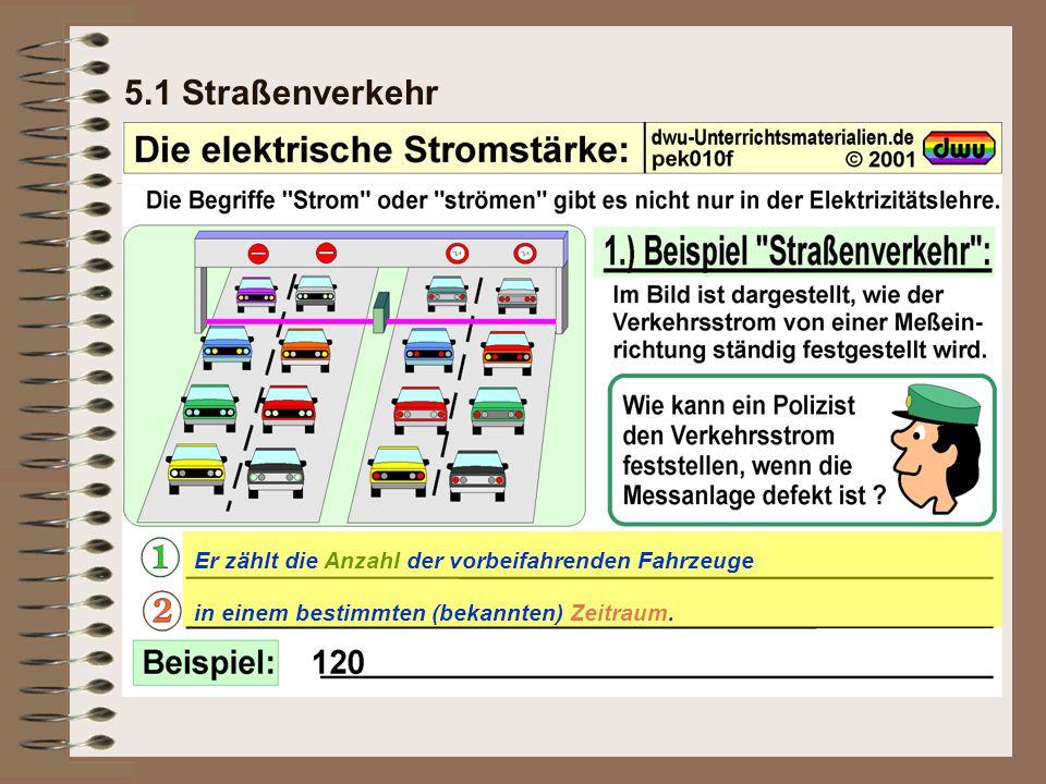 5.1 Straßenverkehr Er zählt die Anzahl der vorbeifahrenden Fahrzeuge in einem bestimmten (bekannten) Zeitraum.