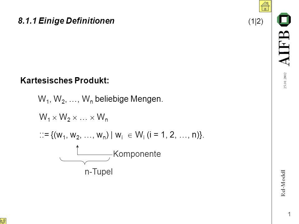 Rel-Modell 25.01.2002 1 8.1.1 Einige Definitionen (1|2) Kartesisches Produkt: W 1, W 2, …, W n beliebige Mengen.