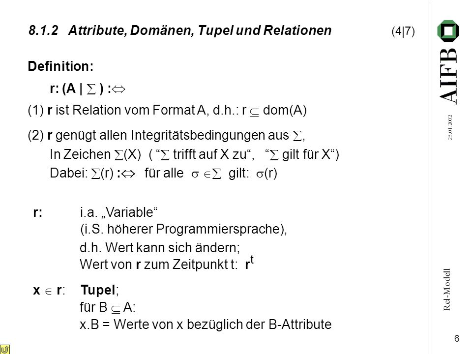 Rel-Modell 25.01.2002 6 8.1.2Attribute, Domänen, Tupel und Relationen (4|7) Definition: r: (A |  ) :  (1) r ist Relation vom Format A, d.h.: r  dom(A) (2) r genügt allen Integritätsbedingungen aus , In Zeichen  (X) (  trifft auf X zu ,  gilt für X ) Dabei:  (r) :  für alle   gilt:  (r) r:i.a.