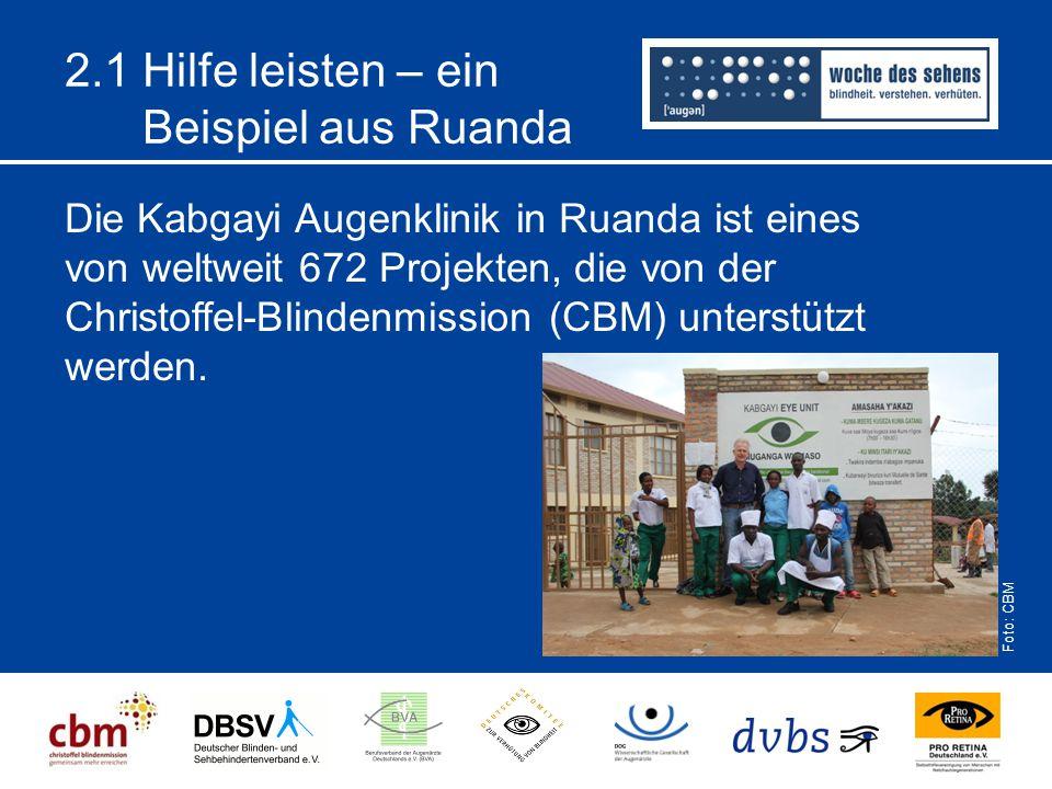 2.1 Hilfe leisten – ein Beispiel aus Ruanda Die Kabgayi Augenklinik in Ruanda ist eines von weltweit 672 Projekten, die von der Christoffel-Blindenmis