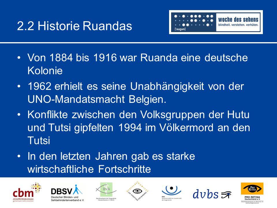 2.2 Historie Ruandas Von 1884 bis 1916 war Ruanda eine deutsche Kolonie 1962 erhielt es seine Unabhängigkeit von der UNO-Mandatsmacht Belgien. Konflik