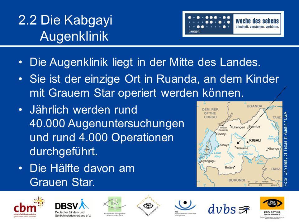 2.2 Die Kabgayi Augenklinik Die Augenklinik liegt in der Mitte des Landes. Sie ist der einzige Ort in Ruanda, an dem Kinder mit Grauem Star operiert w