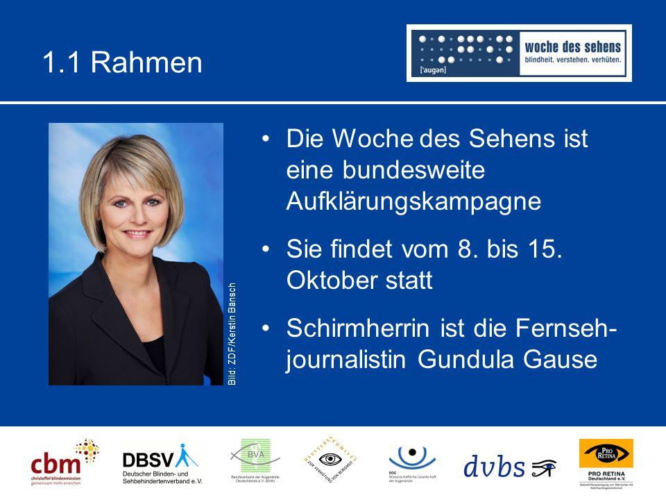 1.1 Rahmen Die Woche des Sehens ist eine bundesweite Aufklärungskampagne Sie findet vom 8. bis 15. Oktober statt Schirmherrin ist die Fernseh- journal