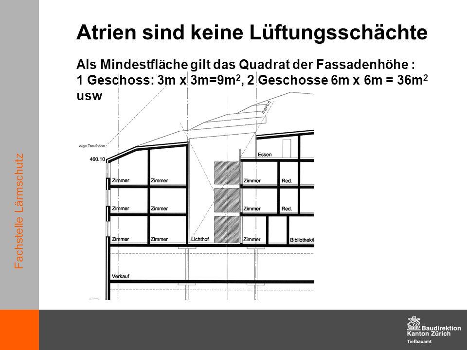 Fachstelle Lärmschutz Als Mindestfläche gilt das Quadrat der Fassadenhöhe : 1 Geschoss: 3m x 3m=9m 2, 2 Geschosse 6m x 6m = 36m 2 usw Atrien sind kein