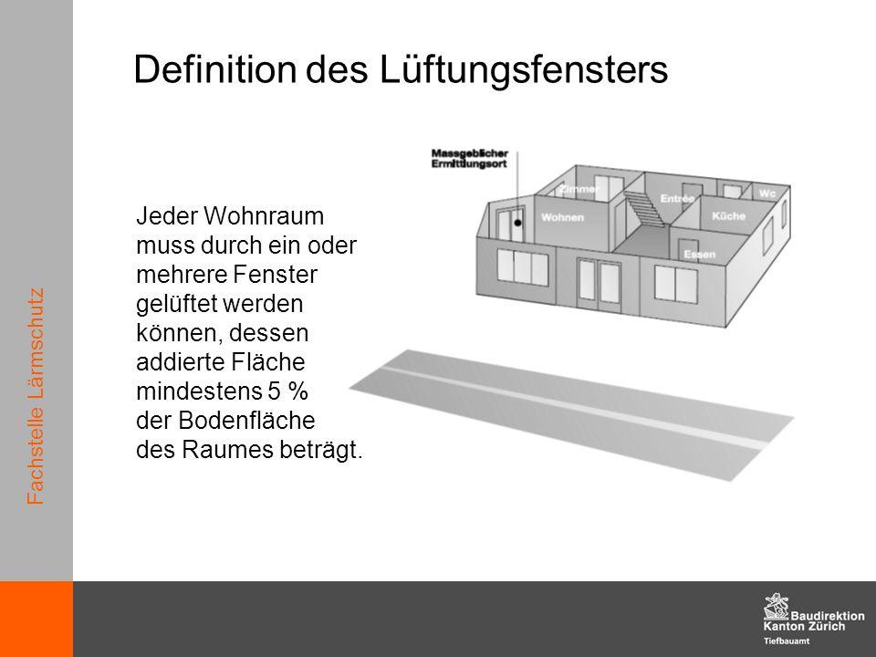 Fachstelle Lärmschutz Definition des Lüftungsfensters Jeder Wohnraum muss durch ein oder mehrere Fenster gelüftet werden können, dessen addierte Fläch