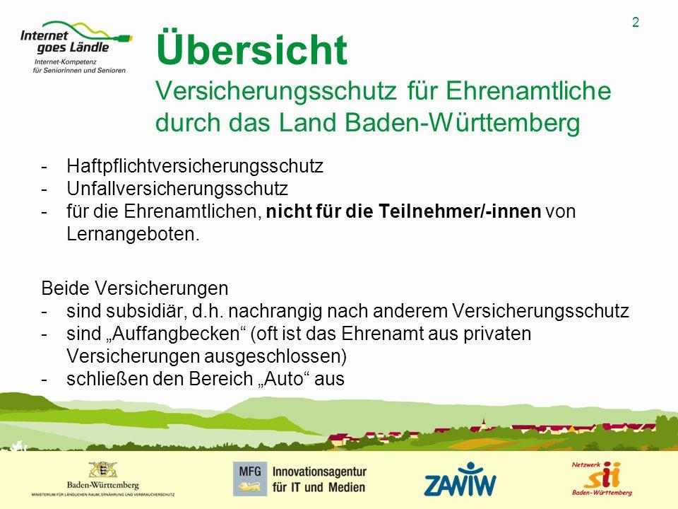 2 MUSTERPRÄSENTATION 09.01.2008 2 Übersicht Versicherungsschutz für Ehrenamtliche durch das Land Baden-Württemberg -Haftpflichtversicherungsschutz -Un
