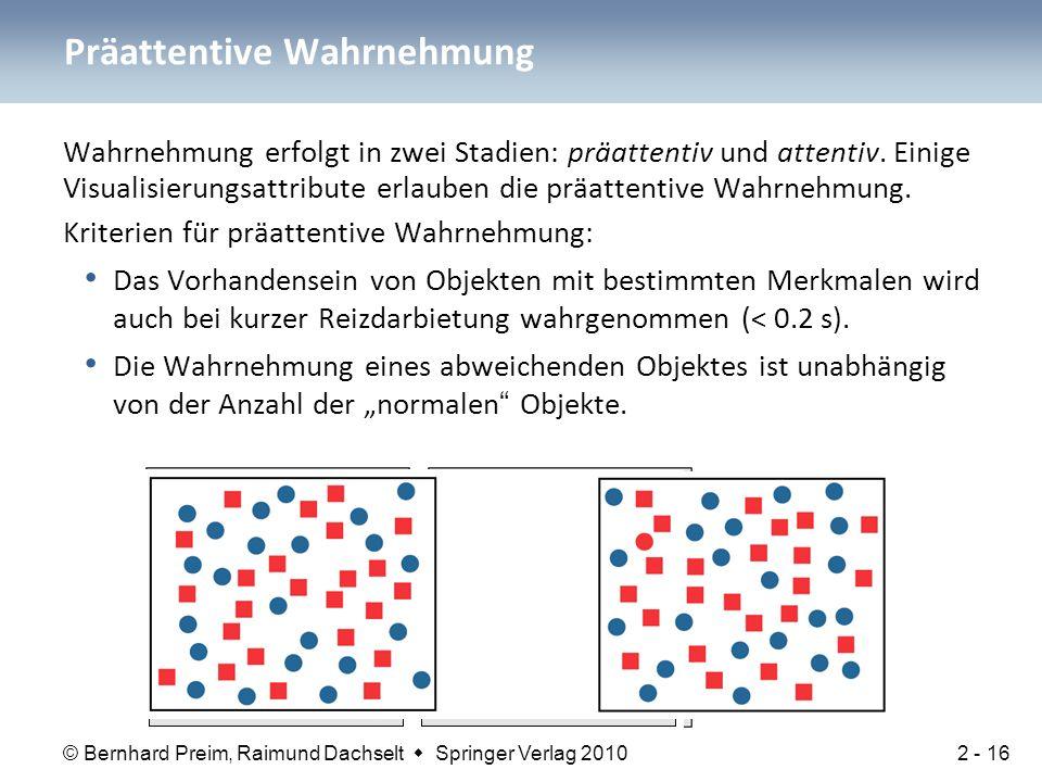 © Bernhard Preim, Raimund Dachselt  Springer Verlag 2010 Wahrnehmung erfolgt in zwei Stadien: präattentiv und attentiv. Einige Visualisierungsattribu