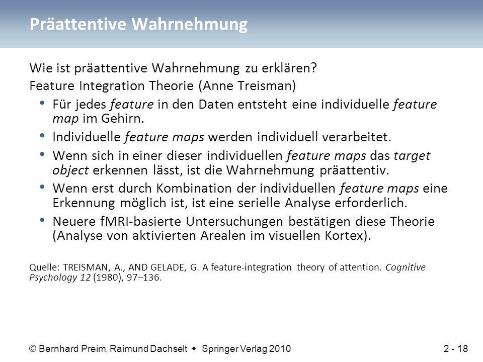 © Bernhard Preim, Raimund Dachselt  Springer Verlag 2010 Wie ist präattentive Wahrnehmung zu erklären? Feature Integration Theorie (Anne Treisman) Fü