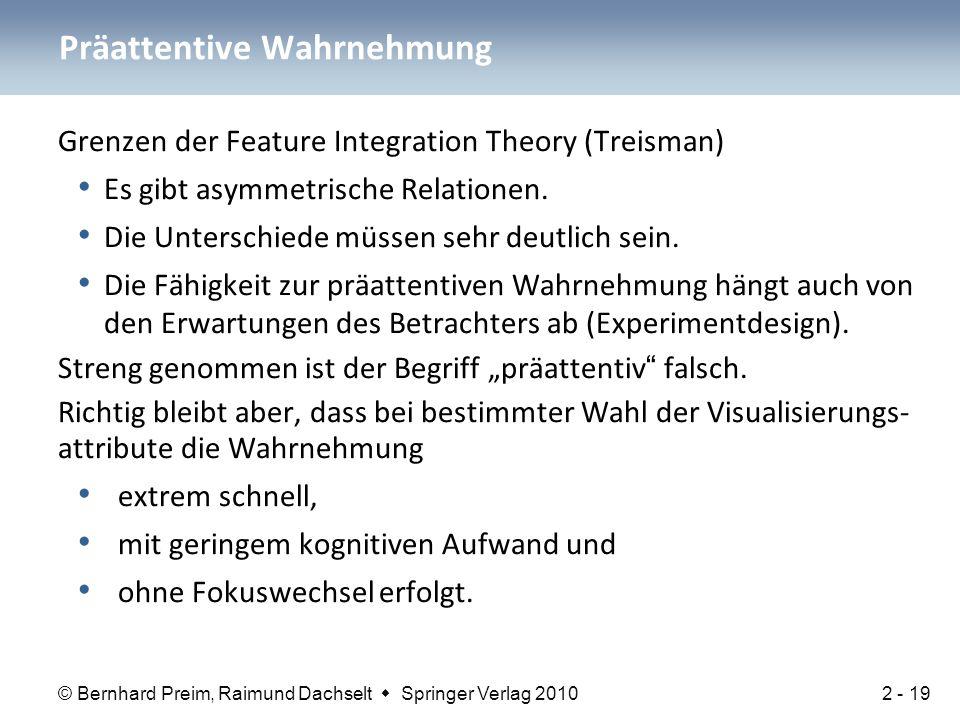 © Bernhard Preim, Raimund Dachselt  Springer Verlag 2010 Grenzen der Feature Integration Theory (Treisman) Es gibt asymmetrische Relationen. Die Unte