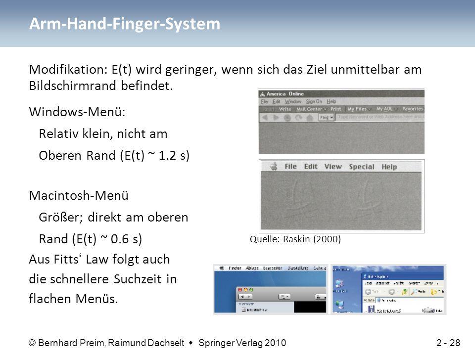 © Bernhard Preim, Raimund Dachselt  Springer Verlag 2010 Modifikation: E(t) wird geringer, wenn sich das Ziel unmittelbar am Bildschirmrand befindet.