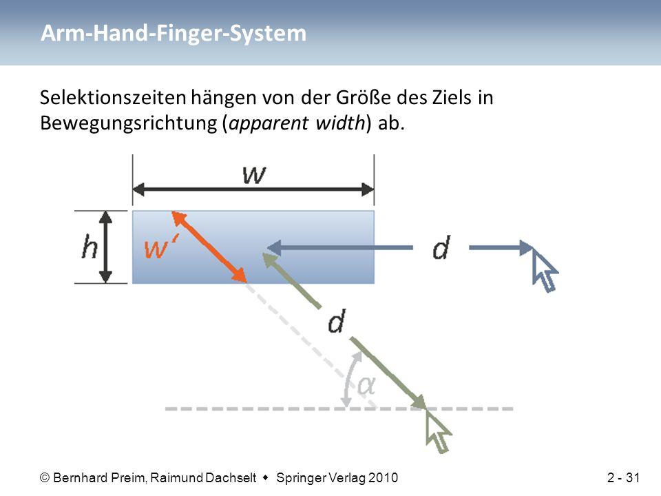 © Bernhard Preim, Raimund Dachselt  Springer Verlag 2010 Selektionszeiten hängen von der Größe des Ziels in Bewegungsrichtung (apparent width) ab. Ar