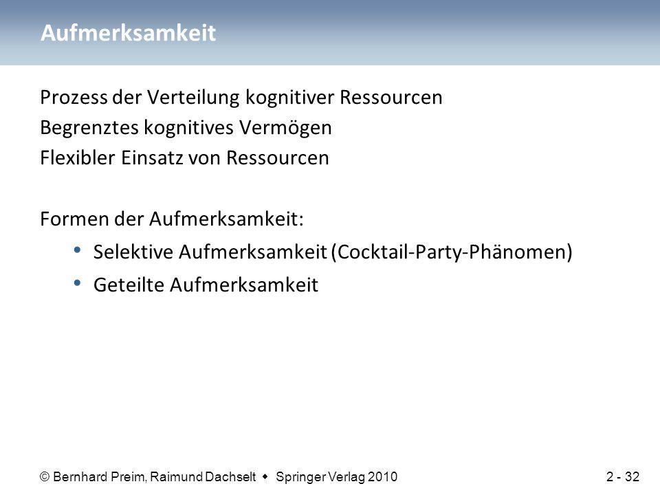 © Bernhard Preim, Raimund Dachselt  Springer Verlag 2010 Prozess der Verteilung kognitiver Ressourcen Begrenztes kognitives Vermögen Flexibler Einsat