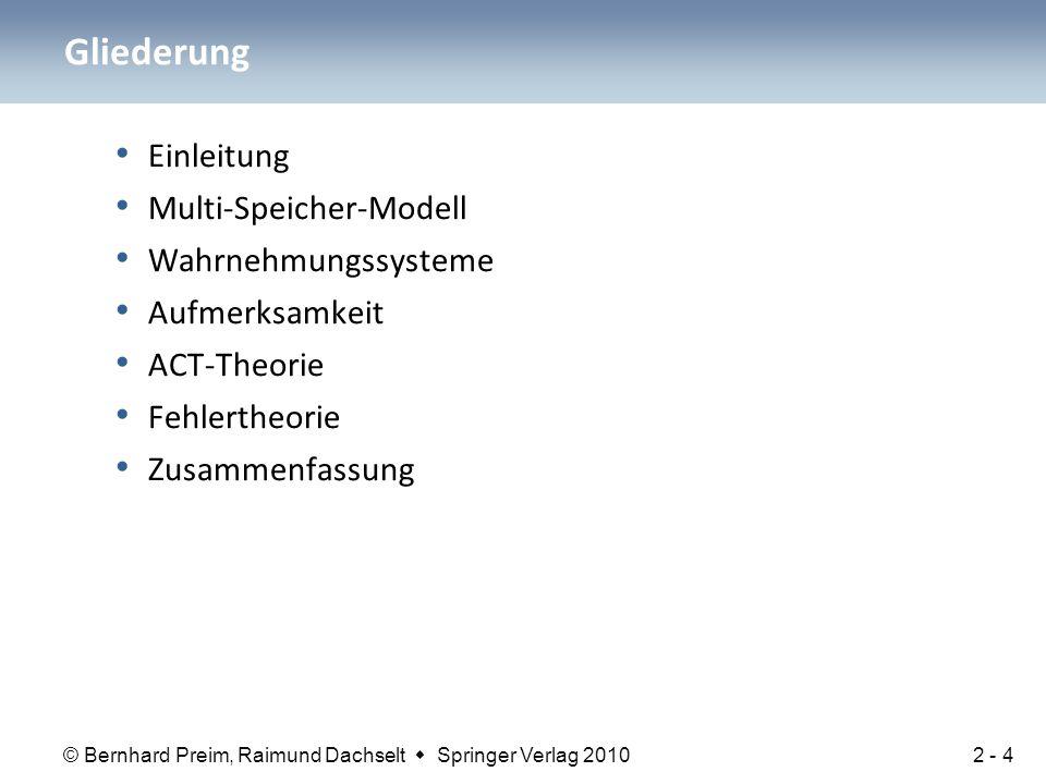© Bernhard Preim, Raimund Dachselt  Springer Verlag 2010 Einleitung Multi-Speicher-Modell Wahrnehmungssysteme Aufmerksamkeit ACT-Theorie Fehlertheori