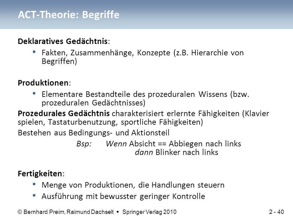 © Bernhard Preim, Raimund Dachselt  Springer Verlag 2010 Deklaratives Gedächtnis: Fakten, Zusammenhänge, Konzepte (z.B. Hierarchie von Begriffen) Pro