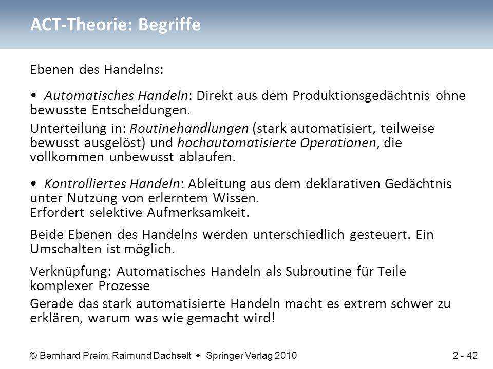 © Bernhard Preim, Raimund Dachselt  Springer Verlag 2010 Ebenen des Handelns: Automatisches Handeln: Direkt aus dem Produktionsgedächtnis ohne bewuss