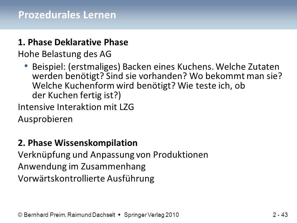 © Bernhard Preim, Raimund Dachselt  Springer Verlag 2010 1. Phase Deklarative Phase Hohe Belastung des AG Beispiel: (erstmaliges) Backen eines Kuchen