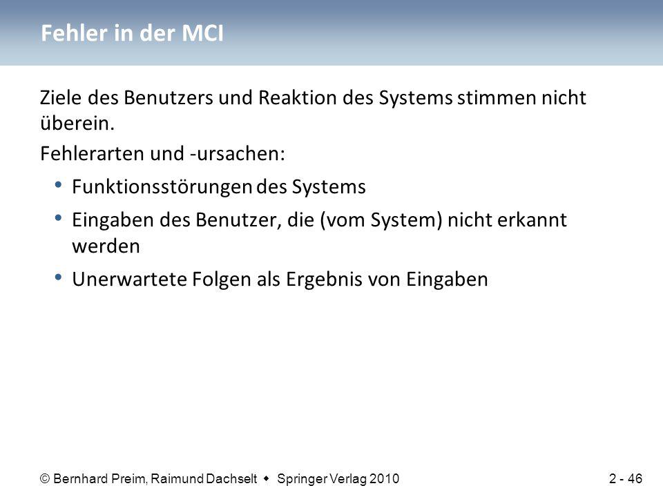© Bernhard Preim, Raimund Dachselt  Springer Verlag 2010 Ziele des Benutzers und Reaktion des Systems stimmen nicht überein. Fehlerarten und -ursache