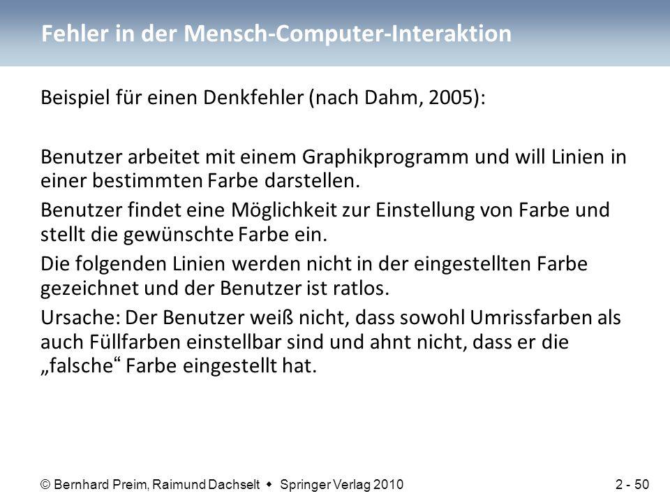 © Bernhard Preim, Raimund Dachselt  Springer Verlag 2010 Beispiel für einen Denkfehler (nach Dahm, 2005): Benutzer arbeitet mit einem Graphikprogramm