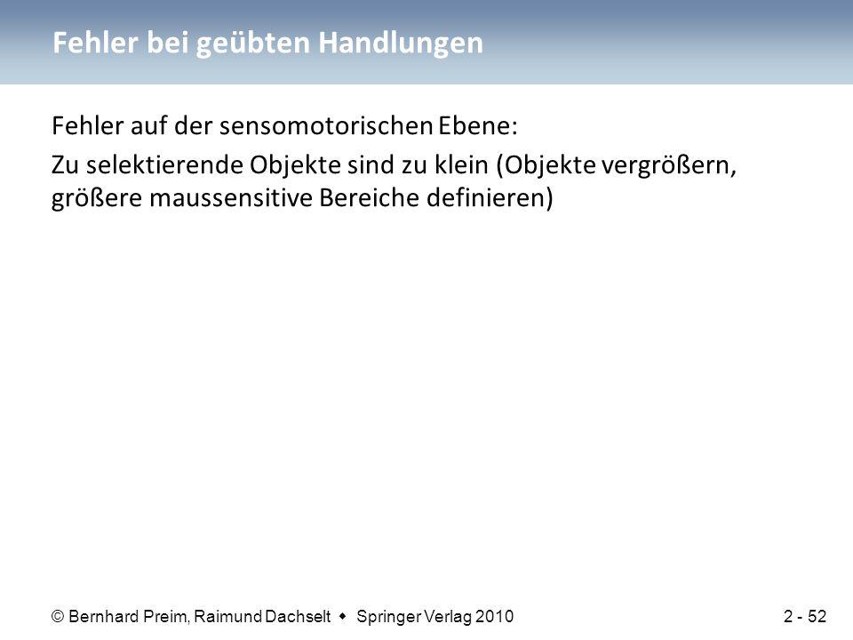 © Bernhard Preim, Raimund Dachselt  Springer Verlag 2010 Fehler auf der sensomotorischen Ebene: Zu selektierende Objekte sind zu klein (Objekte vergr