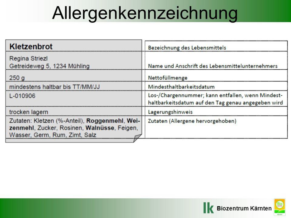 Biozentrum Kärnten Allergenkennzeichnung