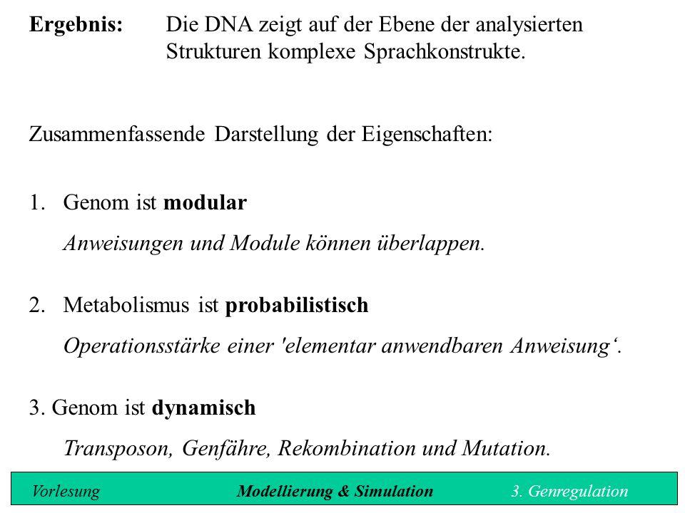 Ergebnis:Die DNA zeigt auf der Ebene der analysierten Strukturen komplexe Sprachkonstrukte. Zusammenfassende Darstellung der Eigenschaften: 1.Genom is