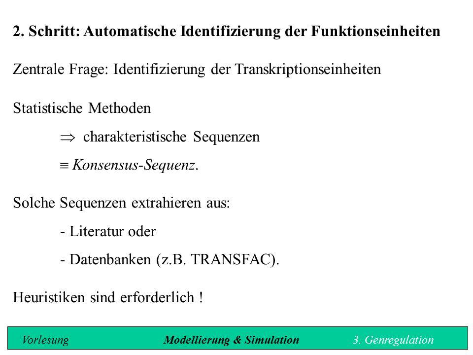 2. Schritt: Automatische Identifizierung der Funktionseinheiten Zentrale Frage: Identifizierung der Transkriptionseinheiten Statistische Methoden  ch