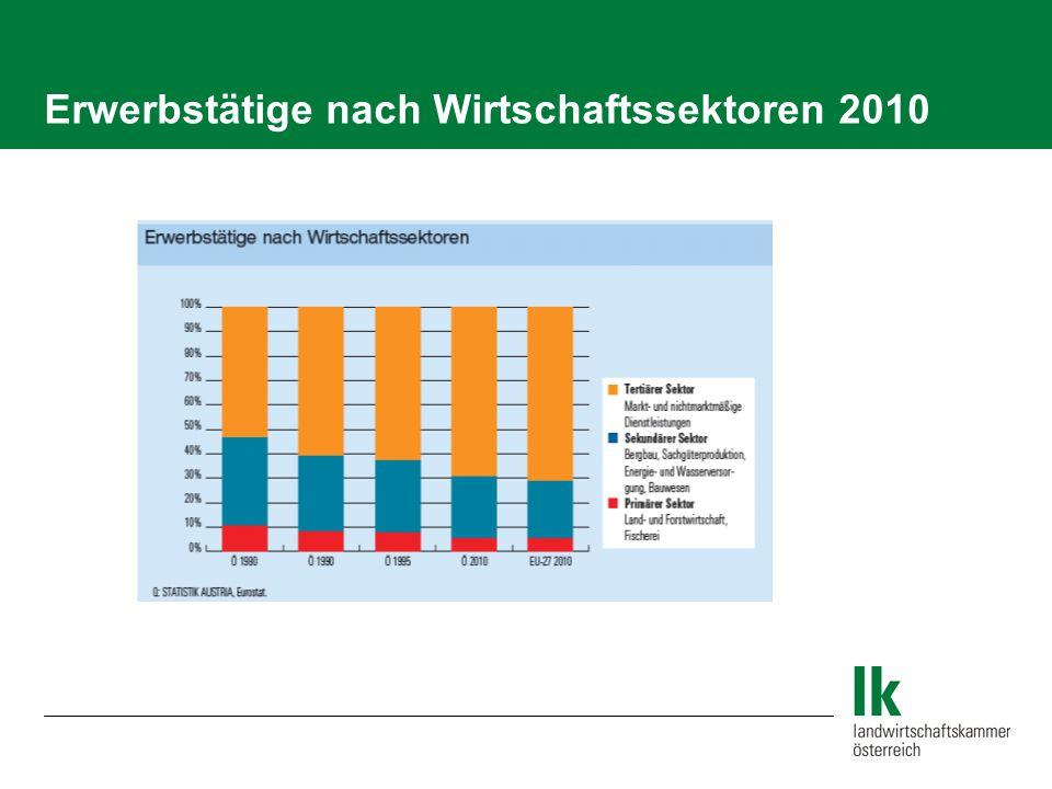 Erwerbstätige nach Wirtschaftssektoren 2010