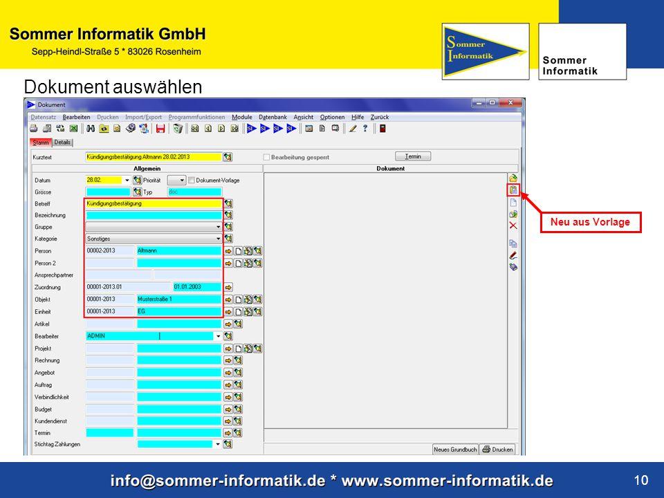 www.sommer-informatik.de 10 Dokument auswählen Neu aus Vorlage