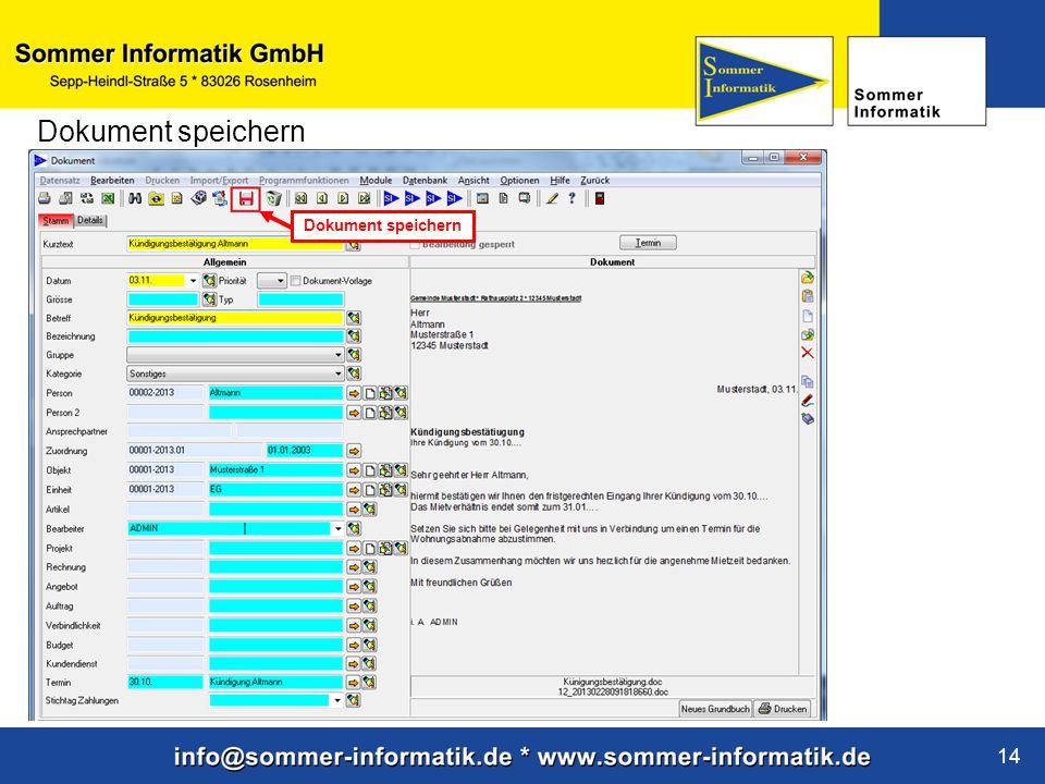 www.sommer-informatik.de 14 Dokument speichern