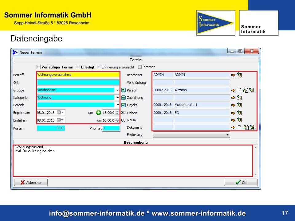 www.sommer-informatik.de 17 Dateneingabe