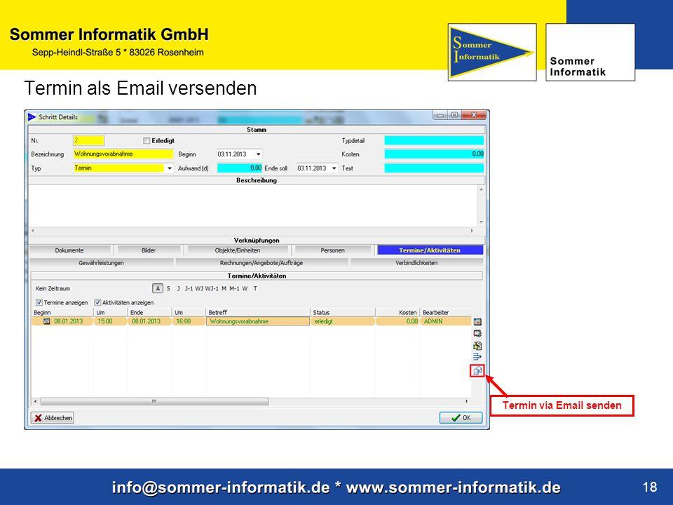 www.sommer-informatik.de 18 Termin als Email versenden Termin via Email senden