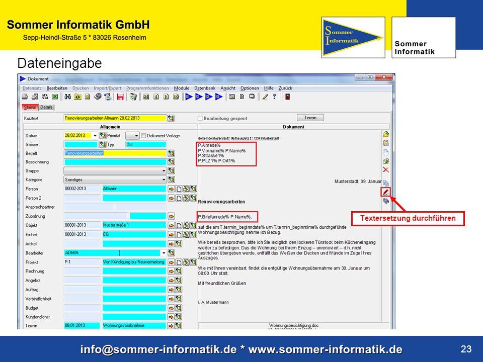 www.sommer-informatik.de 23 Dateneingabe Textersetzung durchführen