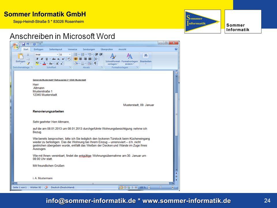 www.sommer-informatik.de 24 Anschreiben in Microsoft Word