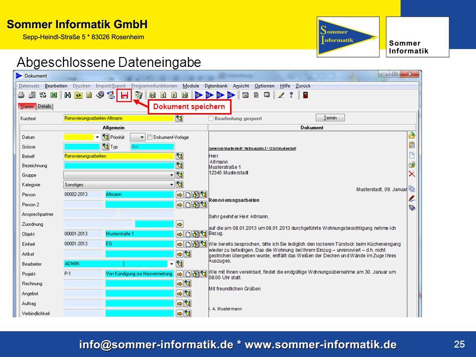 www.sommer-informatik.de 25 Abgeschlossene Dateneingabe Dokument speichern