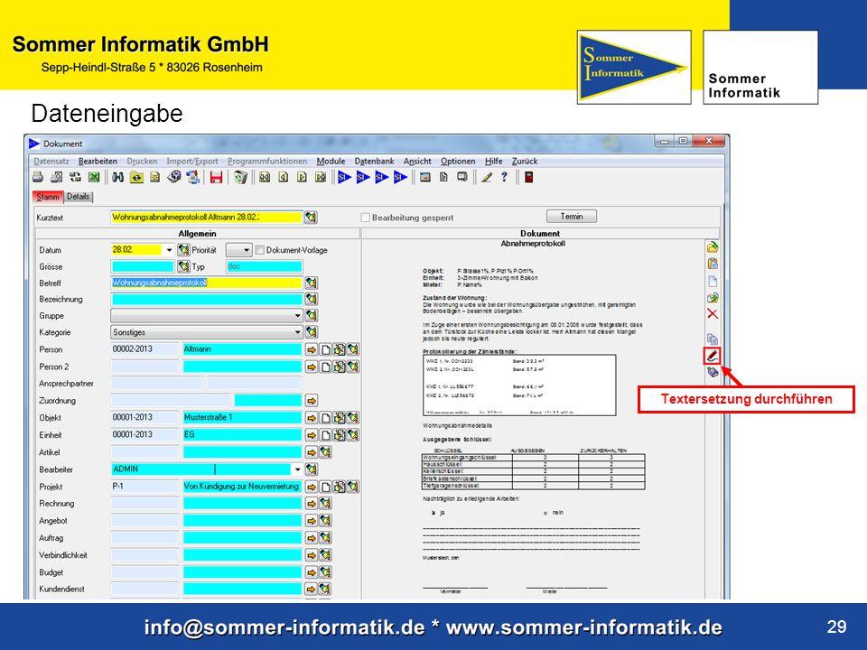 www.sommer-informatik.de 29 Dateneingabe Textersetzung durchführen
