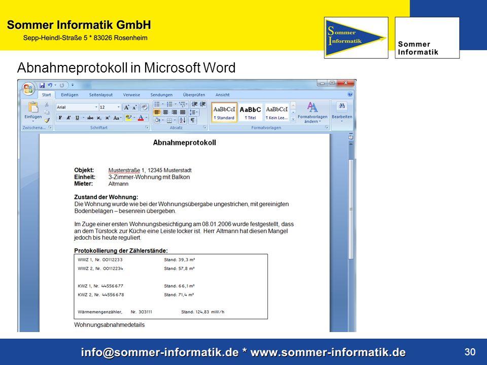 www.sommer-informatik.de 30 Abnahmeprotokoll in Microsoft Word
